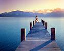 Lake Tahoe Scenic Saxophone Player on Pier