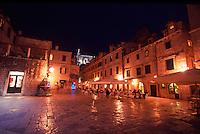 Croatia. Dubrovnik Old City. Restaurants in Gundulic's Square (Gunduliceva Polijana) at night.