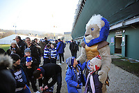 Bath Rugby mascot Maximus with supporters prior to the match. European Rugby Challenge Cup match, between Bath Rugby and Pau (Section Paloise) on January 21, 2017 at the Recreation Ground in Bath, England. Photo by: Patrick Khachfe / Onside Images