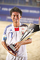 Takeshi Kawaharazuka (JPN), AUGUST 28, 2011 - Beach Soccer : Takeshi Kawaharazuka of Japan poses with the trophy after winning the Crescentini Trophy match between Italy 1-2 Japan at Stadio del Mare in Marina di Ravenna, Italy, (Photo by Enrico Calderoni/AFLO SPORT) [0391]