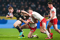Picture by Alex Whitehead/SWpix.com - 10/03/2017 - Rugby League - Betfred Super League - Hull FC v St Helens - KCOM Stadium, Hull, England - Hull FC's Jordan Thompson is tackled by St Helens' Alex Walmsley and James Roby.