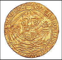 BNPS.co.uk (01202 558833)<br /> Pic: DixNoonanWebb/BNPS<br /> <br /> An extremely rare gold coin dating back to the 15th century and worth &pound;15,000 has been unearthed by a metal detectorist who thought it was a bottle top.<br /> <br /> Brian Biddle found the Angel coin - struck during the brief 86 day reign of Edward V who was murdered in the Tower of London - in a farmer's field where it had lain undisturbed for 533 years.<br /> <br /> The land in Tolpuddle, Dorset, had been repeatedly searched over the years by the members of the Stour Valley and Recovery Club before Brian, 64, turned up with his detector machine.