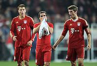 FUSSBALL   1. BUNDESLIGA  SAISON 2011/2012   12. Spieltag FC Augsburg - FC Bayern Muenchen         06.11.2011 Holger Badstuber , Philipp Lahm , Thomas Mueller (V.LI., FC Bayern Muenchen)