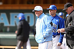13 February 2015: UNC head coach Mike Fox with Seton Hall head coach Rob Sheppard (behind) and home plate umpire John Haggerty (right). The University of North Carolina Tar Heels played the Seton Hall University Pirates in an NCAA Division I Men's baseball game at Boshamer Stadium in Chapel Hill, North Carolina. UNC won the game 7-1.