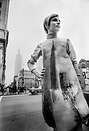 Summer 1968, Manhattan, New York. Known also as Poster Dresses, made by Enlgish designer Harry Gordon, the paper dresses were sold in New York at Bloomingdale's for $2.98. The dresses were supposed to only be worn for a day. They were manufactured in London by Poster Dresses Ltd.