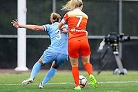 Piscataway, NJ - Saturday May 20, 2017: Christie Pearce, Kealia Ohai during a regular season National Women's Soccer League (NWSL) match between Sky Blue FC and the Houston Dash at Yurcak Field.  Sky Blue defeated Houston, 2-1.