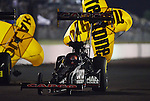 May 18, 2012; Topeka, KS, USA: NHRA top fuel dragster driver Steve Torrence during qualifying for the Summer Nationals at Heartland Park Topeka. Mandatory Credit: Mark J. Rebilas-