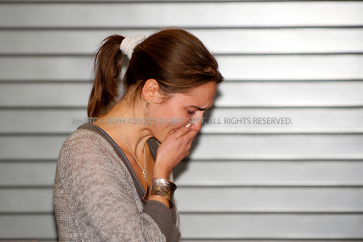 10/4/2011--Seatac, WA, USA..Amanda Knox meets the press and speaks to reporters moments after clearing customs at Seattle's Seatac Airport. Seattle Oct. 4th 2011. Amanda Knox arrived back in Seattle at approximately 5pm on British AIrways flight after being acquitted of murder in an Italian court on Monday...©2011 Stuart Isett. All rights reserved.