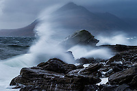 Waves crash against shore at Elgol, Isle of Skye, Scotland