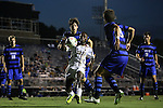 26 September 2014: Boston College's Derrick Boateng (10). The Duke University Blue Devils hosted the Boston College Eagles at Koskinen Stadium in Durham, North Carolina in a 2014 NCAA Division I Men's Soccer match. Duke won the game 1-0.