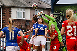 Liverpool Ladies 2 Everton Ladies 1, 19/03/2017. Select Security Stadium, SSE FA Cup Fifth Round. Liverpool's Siobhan Chamberlain punches clear during the game between Liverpool Ladies v Everton Ladies at The Select Security Stadium, Widnes, in the Women's SSE FA Cup Fifth Round. Photo by Paul Thompson.