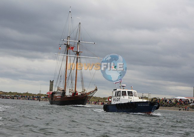 The start of the Drogheda Fringe and Maritime festival with the arrival of the tall ships at the mouth of the river Boyne at Mornington and being escorted up river by the Drogheda Port Company vessels Havlock and Boyne Protector and the Irish coast Guard boat from the Drogheda Coast Guard Station..Picture:  www.newsfile.ie ..