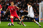 Lee Cattermole takes on James Milner. England U21 V Wales U21, Uefa European U21 Championship qualifying play-off second leg  © Ian Cook IJC Photography iancook@ijcphotography.co.uk www.ijcphotography.co.ukUnholy Alliance Tour 2008,