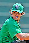 4 July 2012: Vermont Lake Monsters pitcher Brent Powers warms up prior to a game against the Hudson Valley Renegades at Centennial Field in Burlington, Vermont. The Lake Monsters edged out the Renegades the Cyclones 2-1 in NY Penn League action. Mandatory Credit: Ed Wolfstein Photo