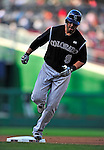22 April 2010: Colorado Rockies' third baseman Ian Stewart rounds the bases after hitting a solo home run against the Washington Nationals at Nationals Park in Washington, DC. The Rockies shut out the Nationals 2-0 gaining a 2-2 series split. Mandatory Credit: Ed Wolfstein Photo
