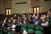 WARSAW, POLAND, December 25, 2016:  Members of Civic Platform are sitting in the plenary hall. Polish opposition MP's from Civic Platform and Modern parties have been occupying the Sejm, Polish parliament since December 16 in protest to the government's curbing of free press access to the parliament.<br /> (Photo by Polish opposition MP for Piotr Malecki / Napo Images)***WARSZAWA, 25/12/2016:<br /> Poslowie opozycji parlamentarnej siedza na sali plenarnej podczas okupacji Sejmu przez opozycje<br /> Fot: Poslanka opozycji dla Piotra Maleckiego / Napo Images<br /> ****<br /> ###ZDJECIE MOZE BYC UZYTE W KONTEKSCIE NIEOBRAZAJACYM OSOB PRZEDSTAWIONYCH NA FOTOGRAFII### ### Cena zdjecia w/g cennika FORUM plus 50% (cena minimalna 100 PLN)