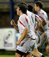 Photo: Richard Lane/Richard Lane Photography. England U20 v South Africa U20. Semi Final. 18/06/2008. England's Alex Corbisiero celebrates his try.
