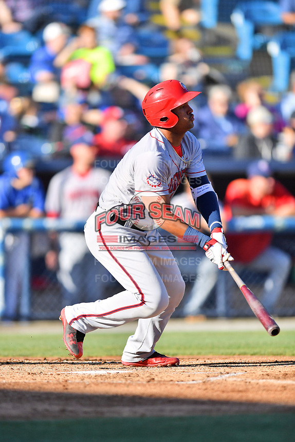 Hagerstown Suns third baseman Anderson Franco (6) swings at a pitch during a game against the  Asheville Tourists at McCormick Field on May 13, 2017 in Asheville, North Carolina. The Suns defeated the Tourists 9-5. (Tony Farlow/Four Seam Images)