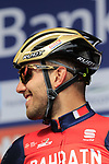 Sonny Colbrelli (ITA) Bahrain-Merida team presented to the crowd before the start of the 60th edition of the Record Bank E3 Harelbeke 2017, Flanders, Belgium. 24th March 2017.<br /> Picture: Eoin Clarke | Cyclefile<br /> <br /> <br /> All photos usage must carry mandatory copyright credit (&copy; Cyclefile | Eoin Clarke)
