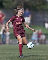 Virginia Tech midfielder Katie Yensen (3) passes the ball. Virginia Tech (maroon) defeated Boston College (white), 1-0, at Newton Soccer Field, on September 22, 2013.