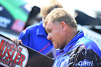 Sept. 22, 2012; Ennis, TX, USA: NHRA crew chief Wayne Dupuy for funny car driver Terry Haddock during qualifying for the Fall Nationals at the Texas Motorplex. Mandatory Credit: Mark J. Rebilas-