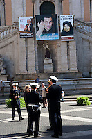 Roma, 6 Nov 2010.Esposto in Campidoglio un manifesto per la moratoria della pena di morte per Tareq Aziz condannato a morte in Iraq, accanto la foto di Glad Shalit, soldato israeliano, prigioniero di Hamas e di Sakineh Mohammadi Ashtiani, condannata a morte in Iran..Rome, November 6, 2010.Exhibited in the Capitol a manifesto for a moratorium on the death penalty for Tareq Aziz condemned to death in Iraq, alongside the photo of Glad Shalit, Israeli soldier captured by Hamas and Sakineh Ashtiani Mohammadi, sentenced to death in Iran.