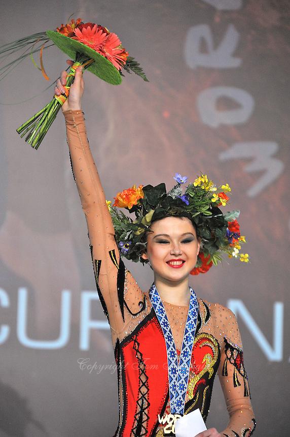 "ALINA MAKSYMENKO  of Ukraine one of her three Event Final wins at 2011 World Cup Kiev, ""Deriugina Cup"" in Kiev, Ukraine on May 8, 2011."