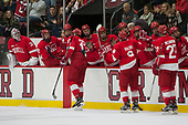 Anthony Angello (Cornell - 17), Yanni Kaldis (Cornell - 8), Patrick McCarron (Cornell - 27) - The Harvard University Crimson defeated the visiting Cornell University Big Red on Saturday, November 5, 2016, at the Bright-Landry Hockey Center in Boston, Massachusetts.