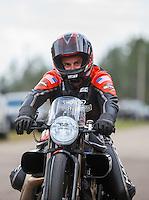Mar 20, 2016; Gainesville, FL, USA; NHRA pro stock motorcycle rider Eddie Krawiec during the Gatornationals at Auto Plus Raceway at Gainesville. Mandatory Credit: Mark J. Rebilas-USA TODAY Sports