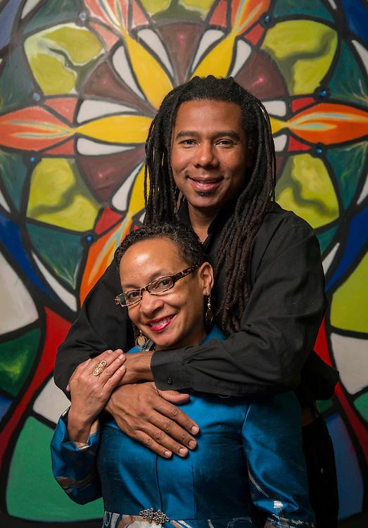 Former Houston ISD students Reginald Adams and Rhonda Radford-Adams pose for a photograph in their studio, January 16, 2015.