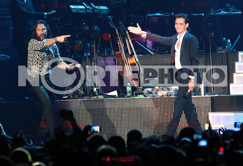 MIAMI, FL - AUGUST 3, 2012: Marco Anotnio Solis and Marc Anthony during the Gigant3s concert featuring, Marc Anthony, Chayanne and Marco Anotonio Solis at the American Airlines Arena in Miam, Florida. August 3, 2012. &copy;&nbsp;Majo Grossi/MediaPunch Inc. /NortePhoto.com<br />