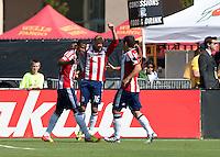 Santa Clara, California - Sunday May 13th, 2012: Laurent Courtois of Chivas USA congratulating Jose Erick Correa after his goal during a Major League Soccer match San Jose Earthquakes at Buck Shaw Stadium