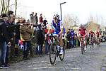 Matteo Trentin (ITA) Quick-Step Floors climbs Oude Kwaremont during the 60th edition of the Record Bank E3 Harelbeke 2017, Flanders, Belgium. 24th March 2017.<br /> Picture: Eoin Clarke   Cyclefile<br /> <br /> <br /> All photos usage must carry mandatory copyright credit (&copy; Cyclefile   Eoin Clarke)