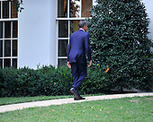 United States President Barack Obama returns to the Oval Office after walking President Mahmoud Abbas of the Palestinian Authority to his car after their meeting in the Oval Office of the White House in Washington, D.C. on Wednesday, September 1, 2010.  This is one of several meetings between the President and Middle East Leaders in advance of the opening of the first direct talks in two years between Israel and the Palestinian Authority scheduled to begin at the State Department in Washington, D.C. tomorrow..Credit: Ron Sachs / Pool via CNP