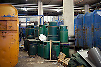 Litter bins stacked in the refuse section underneath No1 court at Wimbledon, The All England Lawn Tennis Club (AELTC), London..