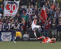 New England Revolution fans. 2013 Lamar Hunt U.S Open Cup fourth round, New England Revolution (white) defeated New York Red Bulls (blue/yellow), 4-2, at Harvard University's Soldiers Field Soccer Stadium on June 12, 2013.