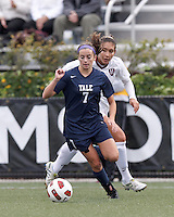 Yale University forward Melissa Gavin (7) dribbles. In overtime, Harvard University defeated Yale University,1-0, at Soldiers Field Soccer Stadium, on September 29, 2012.