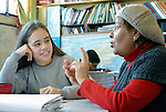 A student talks with an instructor at the Instituto de Buena Voluntad (the Good Will Institute) in Montevideo, Uruguay. Sponsored by the Methodist Church of Uruguay, the institute works with youth and adults with disabilities. It receives financial support from United Methodist Women.