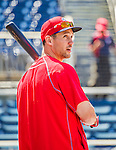 23 May 2015: Philadelphia Phillies outfielder Grady Sizemore awaits his turn in the batting cage prior to a game against the Washington Nationals at Nationals Park in Washington, DC. The Phillies defeated the Nationals 8-1 in the second game of their 3-game weekend series. Mandatory Credit: Ed Wolfstein Photo *** RAW (NEF) Image File Available ***