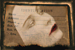 Conceptual image of female on identification note
