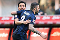 "(L-R) Yuto Nagatomo, Mauro Icardi (Inter), FEBRUARY 23, 2014 - Football / Soccer : Yuto Nagatomo of Inter celebrates their goal during the Italian ""Serie A"" match between Inter Milan 1-1 Cagliari at Stadio Giuseppe Meazza in Milan, Italy. (Photo by Enrico Calderoni/AFLO SPORT)"