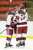 Gina McDonald (Harvard - 10), ?, Kalley Armstrong (Harvard - 13) - The Harvard University Crimson defeated the St. Lawrence University Saints 8-3 (EN) to win their ECAC Quarterfinals on Saturday, February 26, 2011, at Bright Hockey Center in Cambridge, Massachusetts.