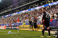 David Beckham (23) of the MLS All-Stars takes a corner kick. Manchester United defeated the MLS All-Stars 4-0 during the MLS ALL-Star game at Red Bull Arena in Harrison, NJ, on July 27, 2011.