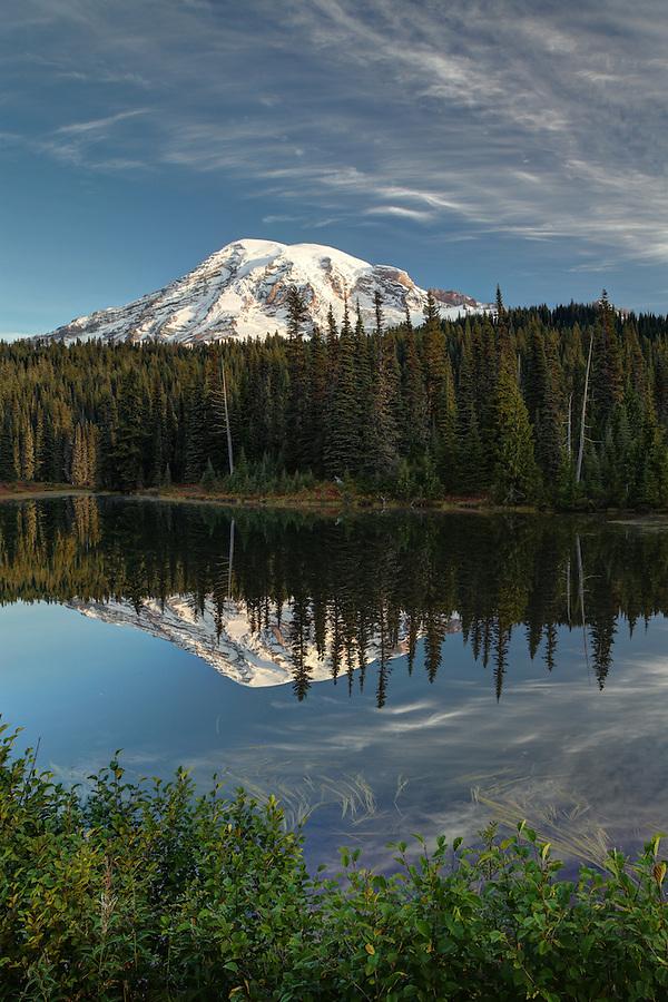 Mount Rainier reflected in Reflection Lake, Mount Rainier National Park, Washington, USA