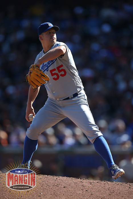 SAN FRANCISCO, CA - OCTOBER 2:  Joe Blanton #55 of the Los Angeles Dodgers pitches against the San Francisco Giants during the game at AT&T Park on Sunday, October 2, 2016 in San Francisco, California. Photo by Brad Mangin