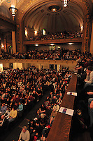 Packed to the rafters, Woolsey Hall is warm as a wool sweater. Audience Waiting for the Start of Century on a Spree: The Whiffenpoof Centennial (1909-2009) 31 January 2009
