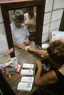 Detroit, Michigan, U.S.A, September, 1980. Food stamps distribution.