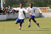 Stratford Juniors score their first goal and celebrate - Inter Moore (blue/black) vs Stratford Juniors (white) - East London Sunday League Jubilee Cup Final at Wadham Lodge - 01/05/11 - MANDATORY CREDIT: Gavin Ellis/TGSPHOTO - Self billing applies where appropriate - Tel: 0845 094 6026