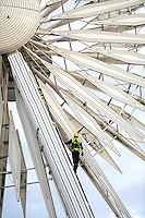 &copy; Licensed to London News Pictures. 27/09/2011. LONDON, UK. An inspection to the Liverpool Wheel is carried out at the conference centre today. The Labour Party Conference in Liverpool today (27/09/11). Photo credit:  Stephen Simpson/LNP