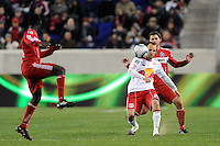 Joel Lindpere (20) of the New York Red Bulls sends a ball forward during the first half of a Major League Soccer match between the New York Red Bulls and the Chicago Fire at Red Bull Arena in Harrison, NJ, on March 27, 2010. The Red Bulls defeated the Fire 1-0.